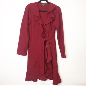 Fenn Wright Manson Red Wool Tie Waist Cardigan